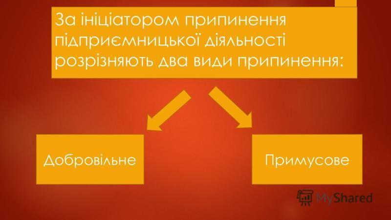 За ініціатором припинення підприємницької діяльності розрізняють два види припинення: ДобровільнеПримусове
