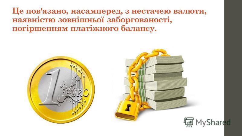 Це пов'язано, насамперед, з нестачею валюти, наявністю зовнішньої заборгованості, погіршенням платіжного балансу.