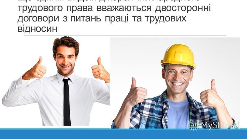 Ще одним видом джерел міжнародного трудового права вважаються двосторонні договори з питань праці та трудових відносин