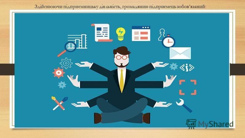 Здійснюючи підприємницьку діяльність, громадянин-підприємець зобовязаний: