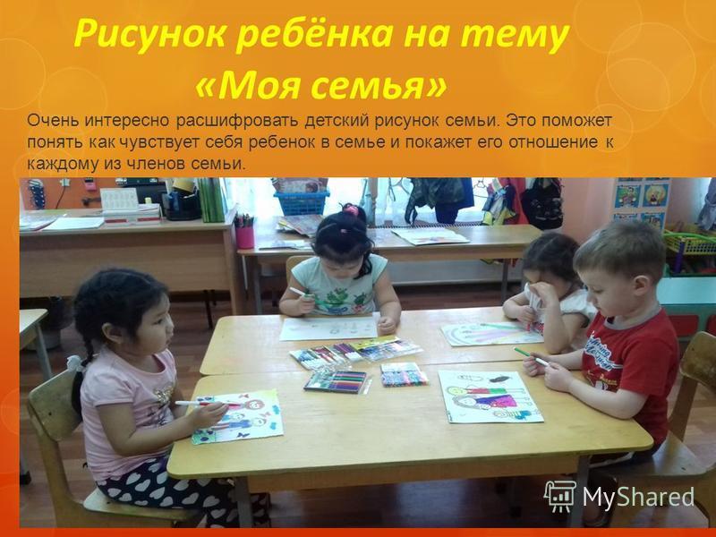 Рисунок ребёнка на тему «Моя семья» Очень интересно расшифровать детский рисунок семьи. Это поможет понять как чувствует себя ребенок в семье и покажет его отношение к каждому из членов семьи.
