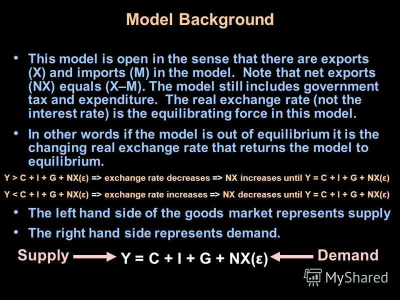 Model Background This model is open in the sense that there are exports (X) and imports (M) in the model. Note that net exports (NX) equals (X–M). The model still includes government tax and expenditure. The real exchange rate (not the interest rate)
