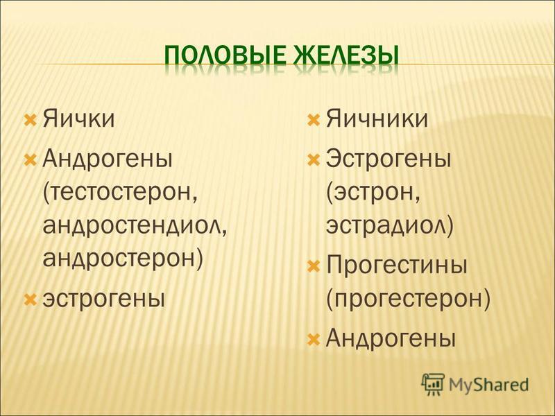 Яички Андрогены (тестостерон, андростендиол, андростерон) эстрогены Яичники Эстрогены (эстрон, эстрадиол) Прогестины (прогестерон) Андрогены