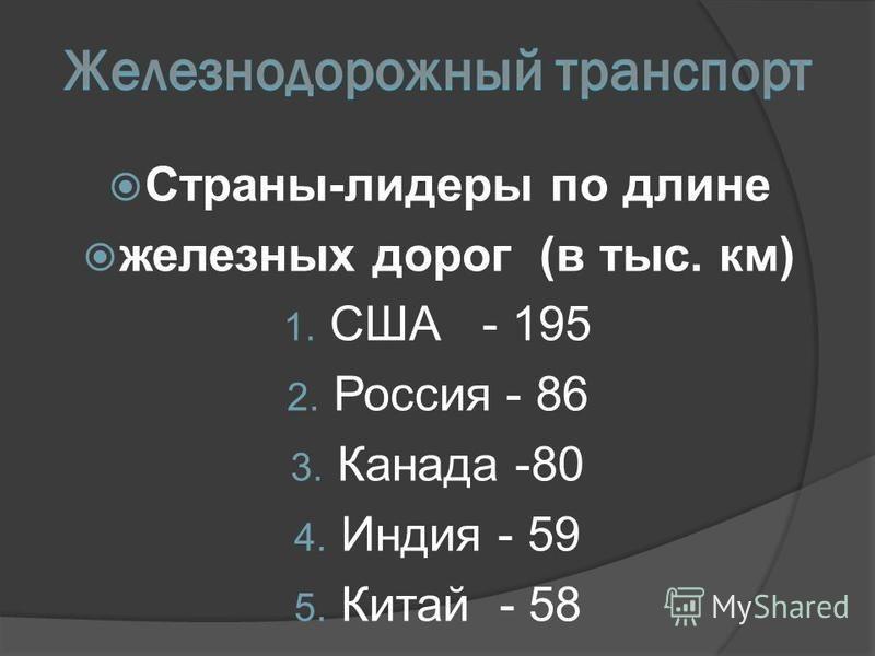 Страны-лидеры по длине железных дорог (в тыс. км) 1. США - 195 2. Россия - 86 3. Канада -80 4. Индия - 59 5. Китай - 58