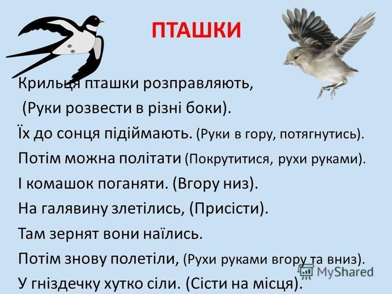 ПТАШКИ Крильця пташки розправляють, (Руки розвести в різні боки). Їх до сонця підіймають. (Руки в гору, потягнутись). Потім можна політати (Покрутитися, рухи руками). І комашок поганяти. (Вгору низ). На галявину злетілись, (Присісти). Там зернят вони