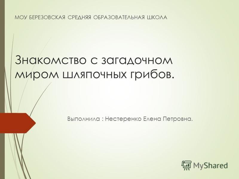 МОУ БЕРЕЗОВСКАЯ СРЕДНЯЯ ОБРАЗОВАТЕЛЬНАЯ ШКОЛА Знакомство с загадочном миром шляпочных грибов. Выполнила : Нестеренко Елена Петровна.