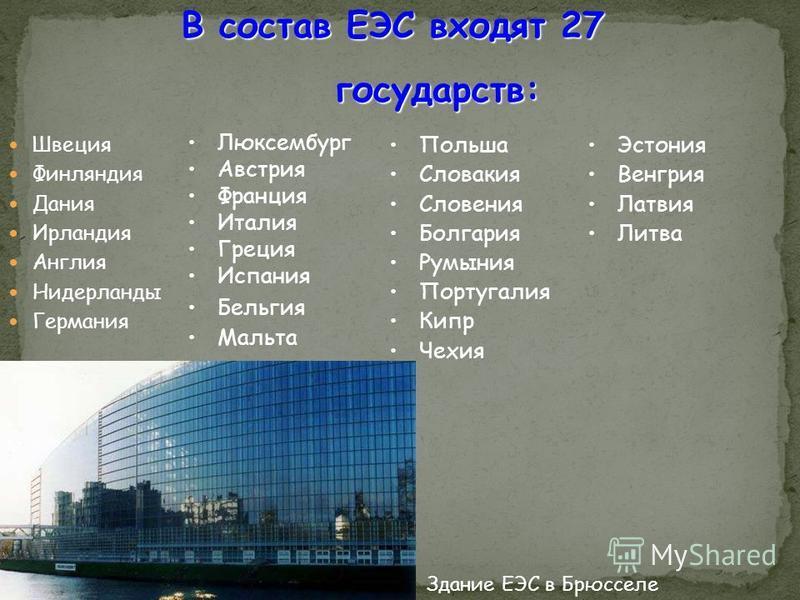 В состав ЕЭС входят 27 государств: Швеция Финляндия Дания Ирландия Англия Нидерланды Германия Эстония Венгрия Латвия Литва Люксембург Австрия Франция Италия Греция Испания Бельгия Мальта Польша Словакия Словения Болгария Румыния Португалия Кипр Чехия