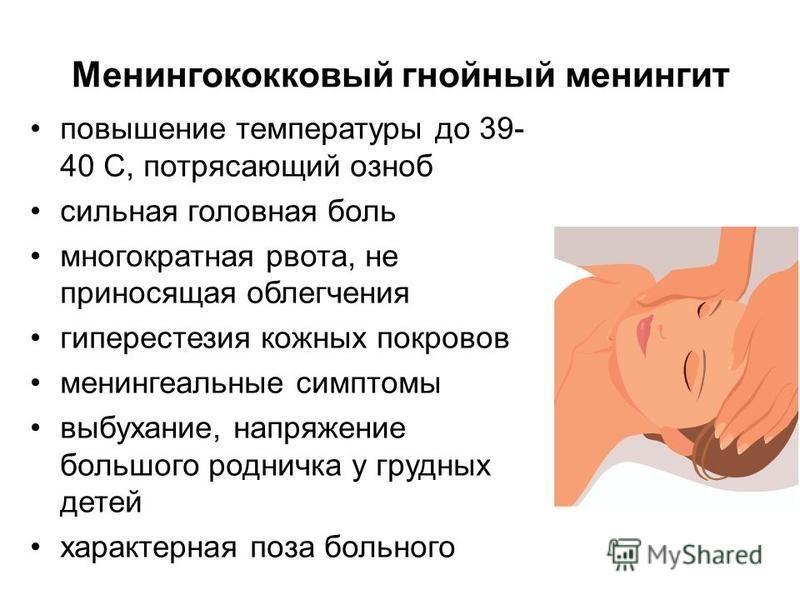 Менингококковый гнойный менингит повышение температуры до 39- 40 С, потрясающий озноб сильная головная боль многократная рвота, не приносящая облегчения гиперестезия кожных покровов менингеальные симптомы выбухание, напряжение большого родничка у гру