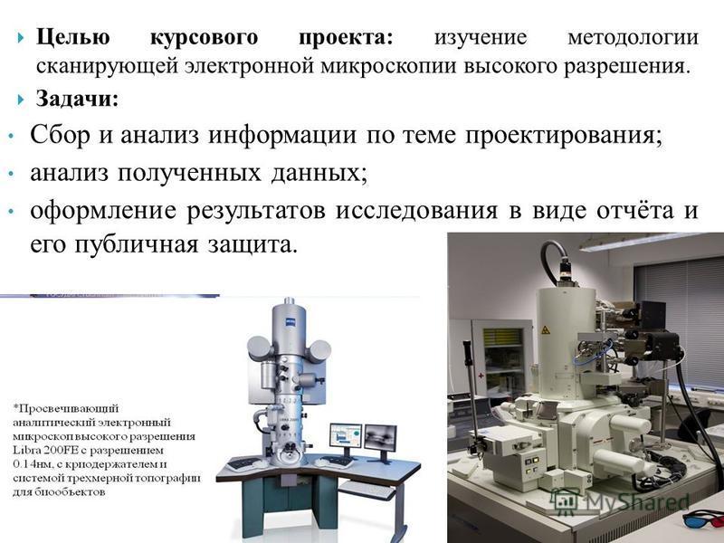 Целью курсового проекта: изучение методологии сканирующей электронной микроскопии высокого разрешения. Задачи: Сбор и анализ информации по теме проектирования; анализ полученных данных; оформление результатов исследования в виде отчёта и его публична