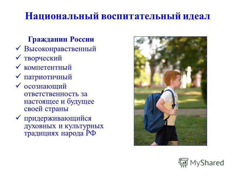Национальный воспитательный идеал Гражданин России Высоконравственный творческий компетентный патриотичный осознающий ответственность за настоящее и будущее своей страны придерживающийся духовных и культурных традициях народа РФ
