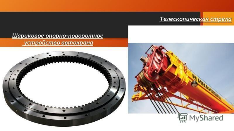 Шариковое опорно-поворотное устройство автокрана устройство автокрана Телескопическая стрела