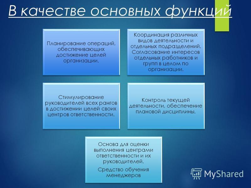 В качестве основных функций Планирование операций, обеспечивающих достижение целей организации. Координация различных видов деятельности и отдельных подразделений. Согласование интересов отдельных работников и групп в целом по организации. Стимулиров