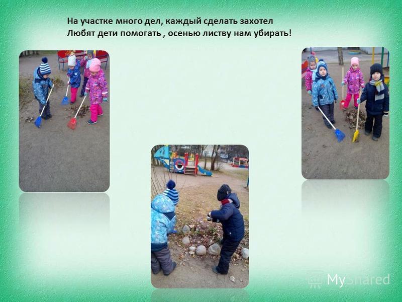 На участке много дел, каждый сделать захотел Любят дети помогать, осенью листву нам убирать!