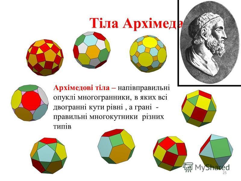 Тіла Архімеда 25 Архімедові тіла – напівправильні опуклі многогранники, в яких всі двогранні кути рівні, а грані - правильні многокутники різних типів