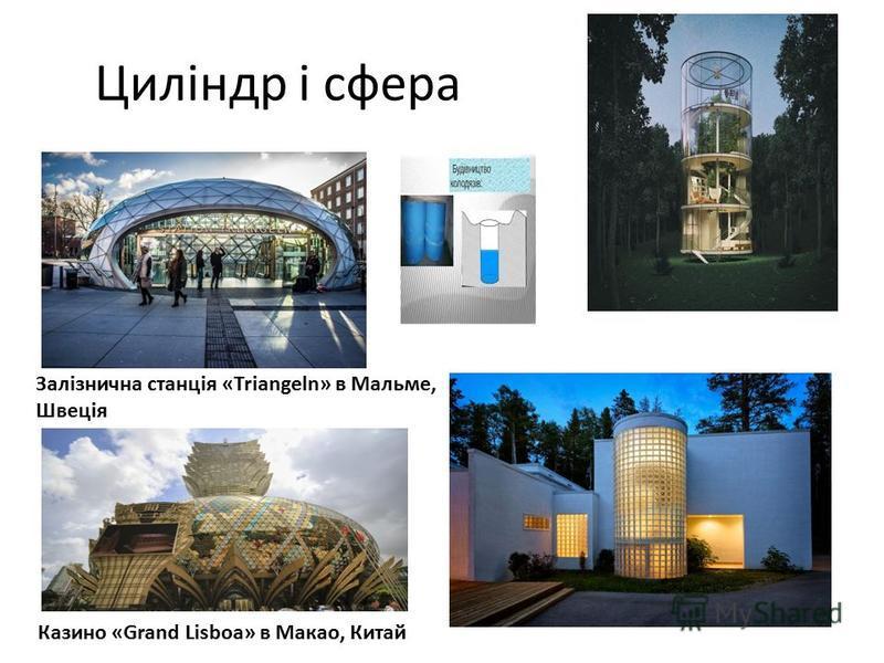 Циліндр і сфера Залізнична станція «Triangeln» в Мальме, Швеція Казино «Grand Lisboa» в Макао, Китай