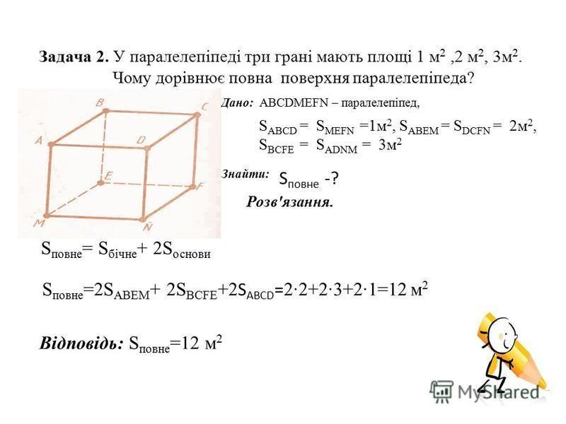 Задача 2. У паралелепіпеді три грані мають площі 1 м 2,2 м 2, 3м 2. Чому дорівнює повна поверхня паралелепіпеда? Дано: ABCDMEFN – паралелепіпед, S ABCD = S MEFN =1м 2, S ABEM = S DCFN = 2м 2, S BCFE = S ADNM = 3м 2 Знайти: S повне -? Розв'язання. S п