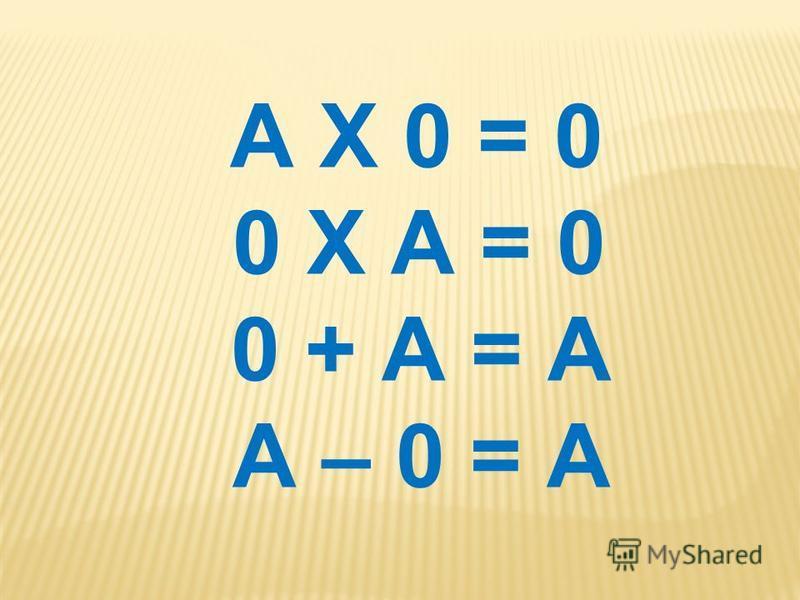 А Х 0 = 0 0 Х А = 0 0 + А = А А – 0 = А