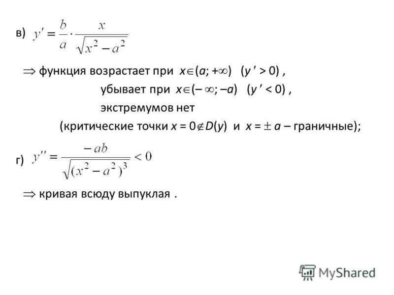 в) функция возрастает при x (a; + ) (y > 0), убывает при x (– ; –a) (y < 0), экстремумов нет (критические точки x = 0 D(y) и x = a – граничные); г) кривая всюду выпуклая.
