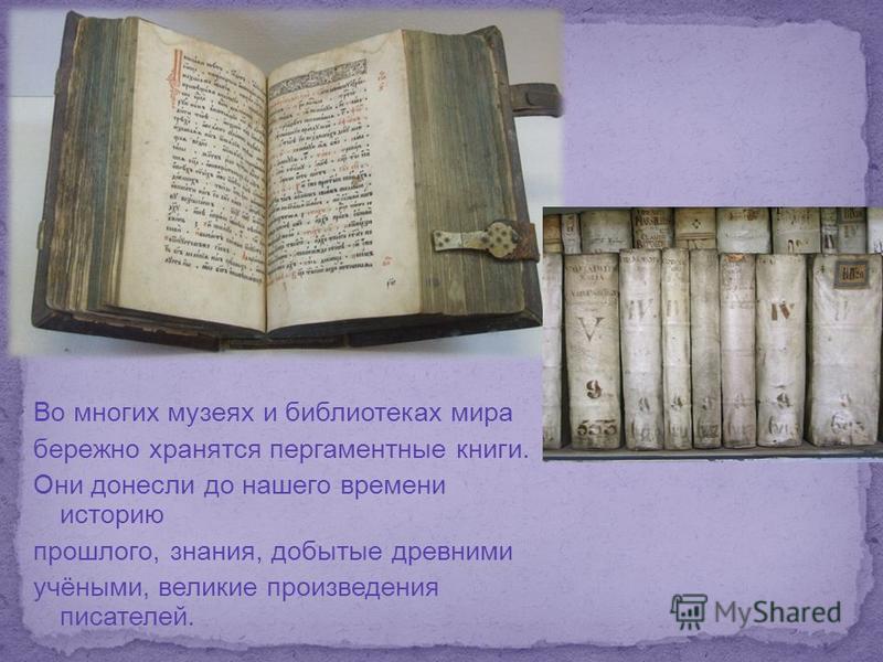Во многих музеях и библиотеках мира бережно хранятся пергаментные книги. Они донесли до нашего времени историю прошлого, знания, добытые древними учёными, великие произведения писателей.
