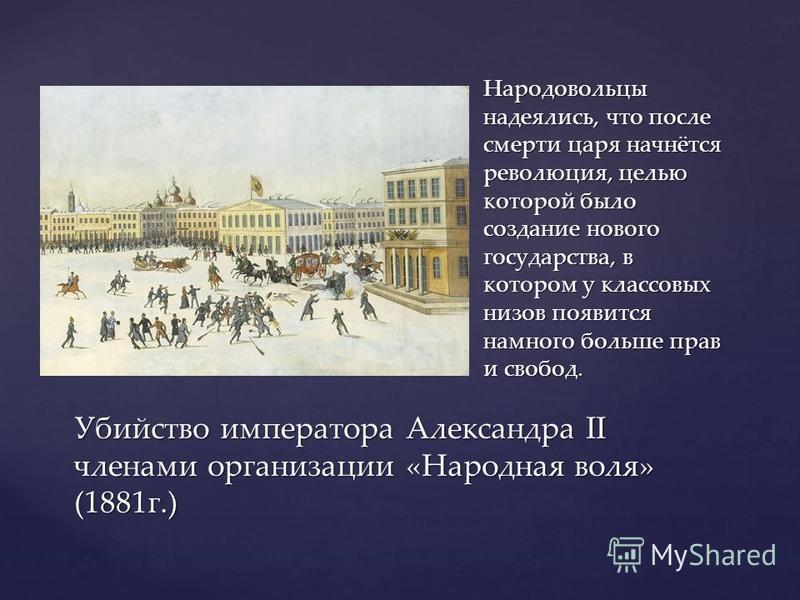 Народовольцы надеялись, что после смерти царя начнётся революция, целью которой было создание нового государства, в котором у классовых низов появится намного больше прав и свобод. Убийство императора Александра II членами организации «Народная воля»