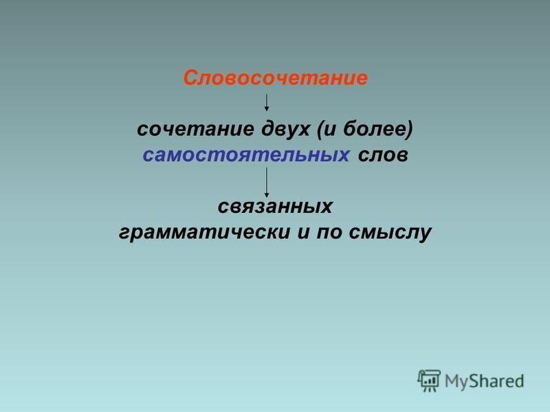 Словосочетание сочетание двух (и более) самостоятельных слов связанных грамматически и по смыслу