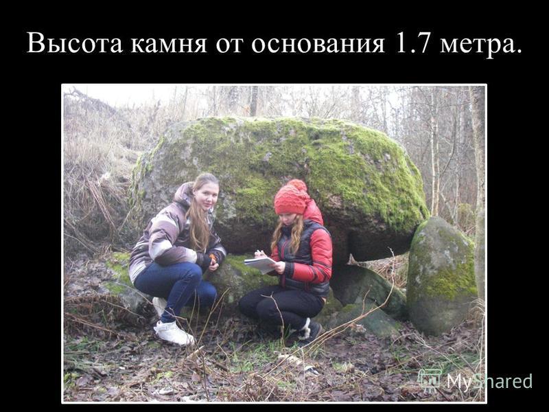Высота камня от основания 1.7 метра.