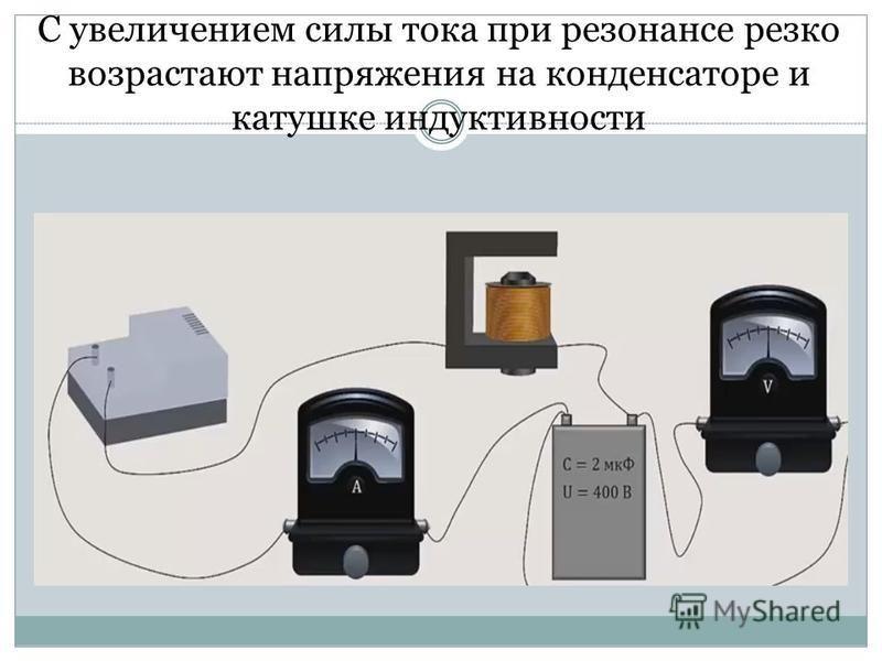 С увеличением силы тока при резонансе резко возрастают напряжения на конденсаторе и катушке индуктивности