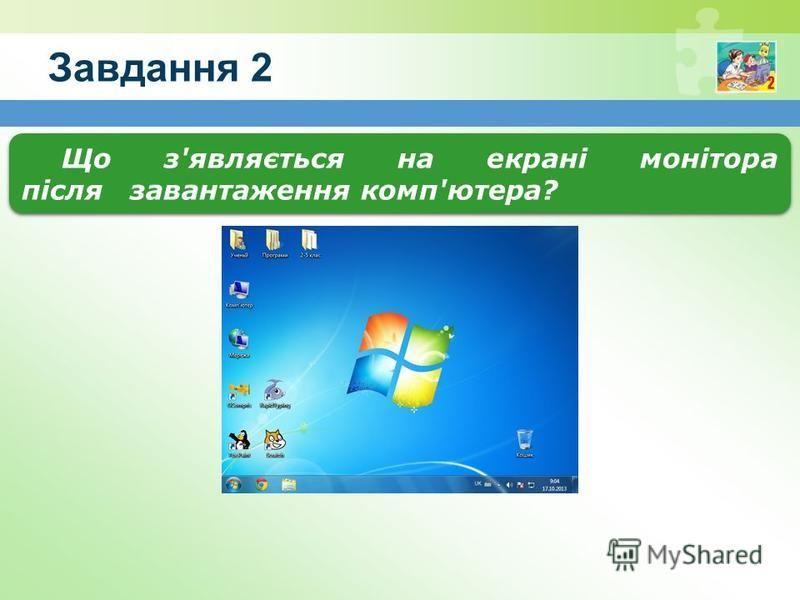 Завдання 2 Що з'являється на екрані монітора після завантаження комп'ютера?
