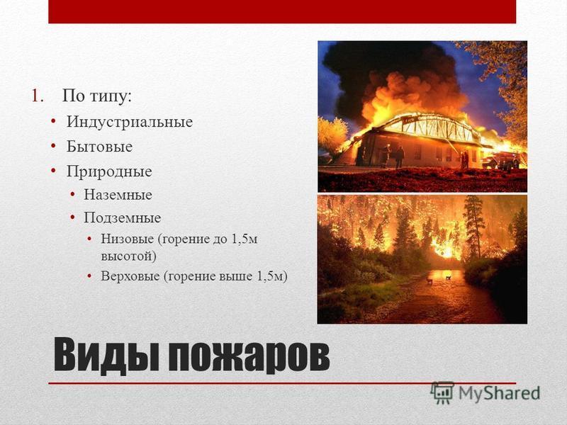 Виды пожаров 1. По типу: Индустриальные Бытовые Природные Наземные Подземные Низовые (горение до 1,5 м высотой) Верховые (горение выше 1,5 м)
