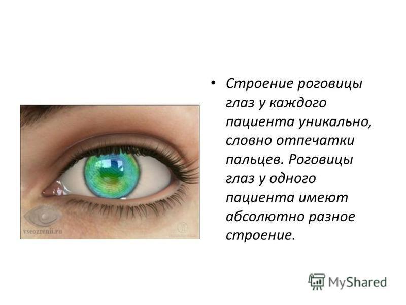 Строение роговицы глаз у каждого пациента уникально, словно отпечатки пальцев. Роговицы глаз у одного пациента имеют абсолютно разное строение.