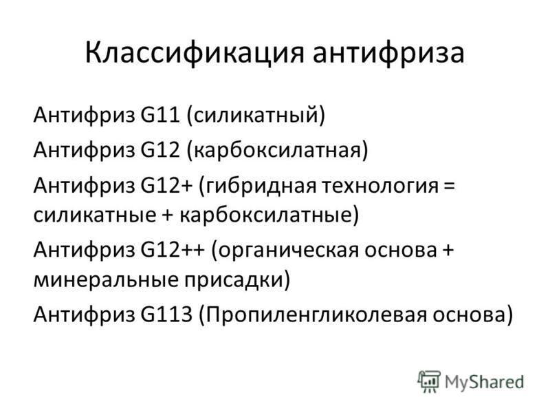 Классификация антифриза Антифриз G11 (силикатный) Антифриз G12 (карбоксилатная) Антифриз G12+ (гибридная технология = силикатные + карбоксилатные) Антифриз G12++ (органическая основа + минеральные присадки) Антифриз G113 (Пропиленгликолевая основа)
