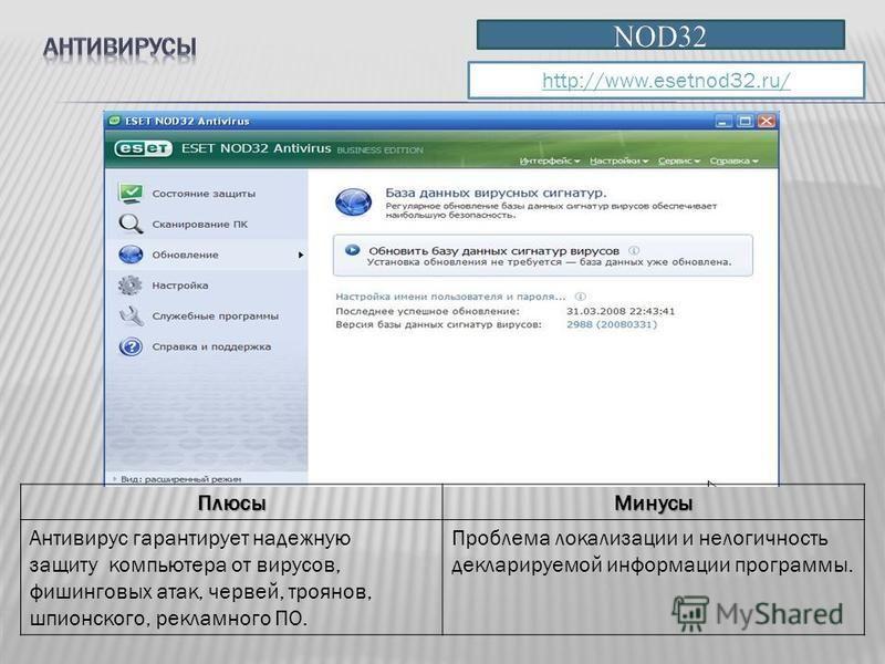 http://www.esetnod32.ru/ Плюсы Минусы Антивирус гарантирует надежную защиту компьютера от вирусов, фишинговых атак, червей, троянов, шпионского, рекламного ПО. Проблема локализации и нелогичность декларируемой информации программы.