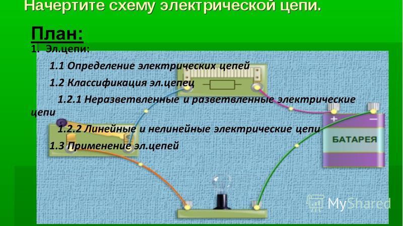 План: 1.Эл.цепи: 1.1 Определение электрических цепей 1.2 Классификация эл.цепей 1.2.1 Неразветвленные и разветвленные электрические цепи 1.2.2 Линейные и нелинейные электрические цепи 1.3 Применение эл.цепей