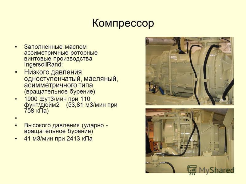 Компрессор Заполненные маслом ассиметричные роторные винтовые производства IngersollRand: Низкого давления, одноступенчатый, масляный, асимметричного типа (вращательное бурение) 1900 фут 3/мин при 110 фунт/дюйм 2 (53,81 м 3/мин при 758 к Па) Высокого