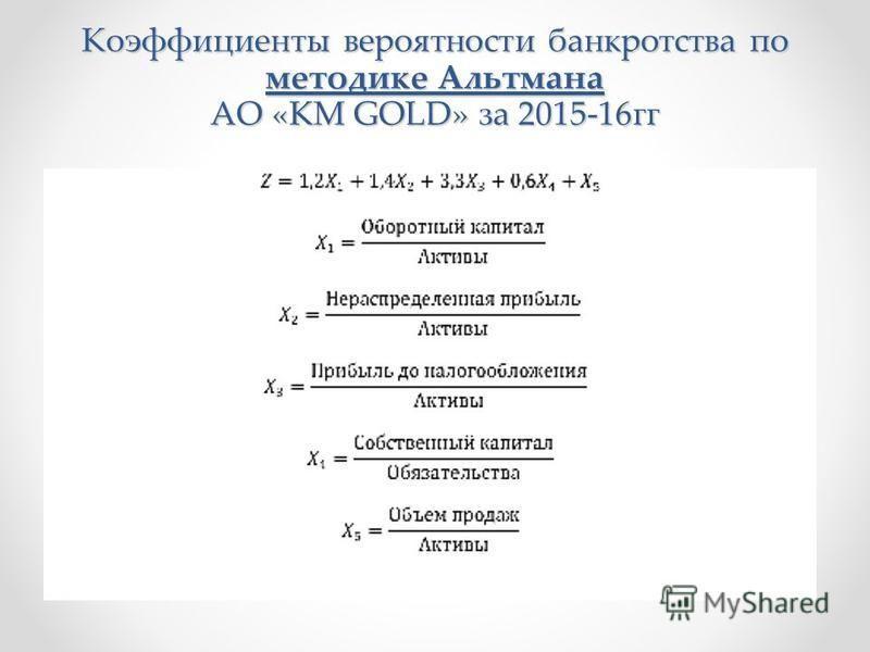 Коэффициенты вероятности банкротства по методике Альтмана АО «KM GOLD» за 2015-16 гг