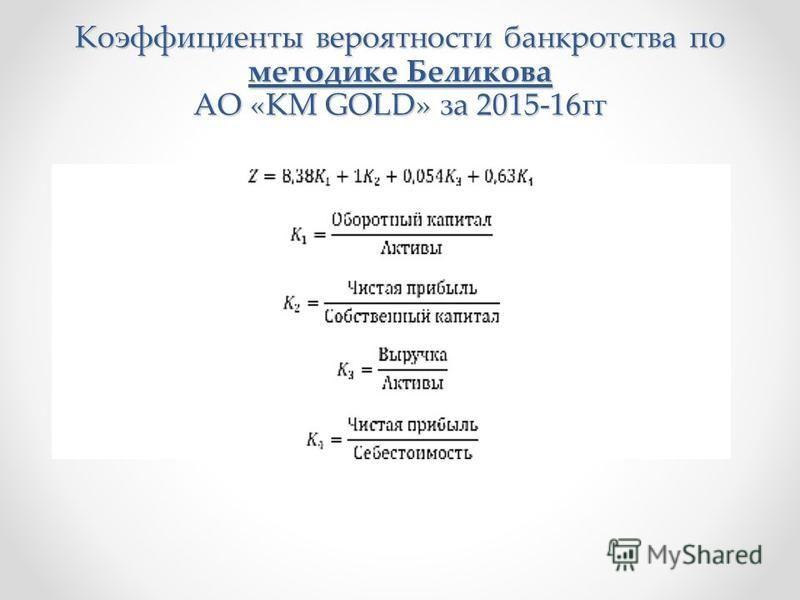 Коэффициенты вероятности банкротства по методике Беликова АО «KM GOLD» за 2015-16 гг