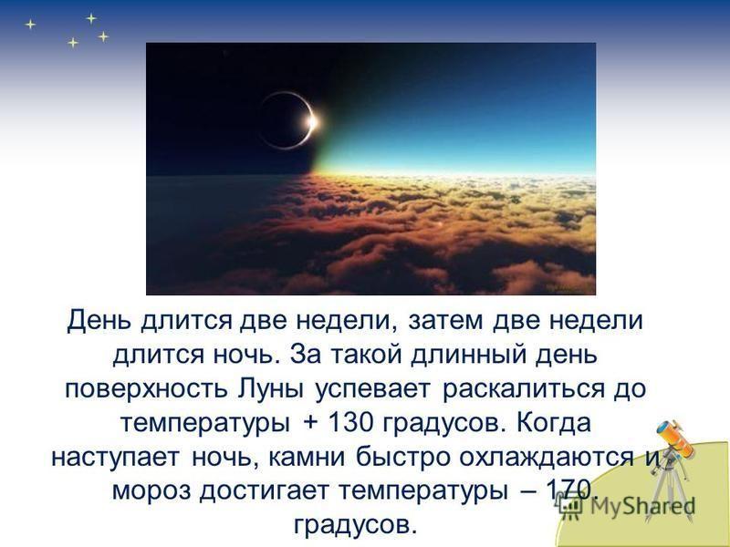 День длится две недели, затем две недели длится ночь. За такой длинный день поверхность Луны успевает раскалиться до температуры + 130 градусов. Когда наступает ночь, камни быстро охлаждаются и мороз достигает температуры – 170. градусов.