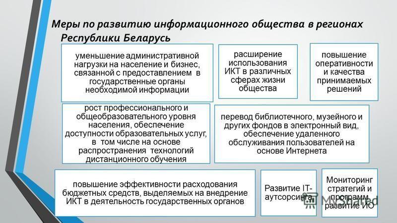 Меры по развитию информационного общества в регионах Республики Беларусь уменьшение административной нагрузки на население и бизнес, связанной с предоставлением в государственные органы необходимой информации расширение использования ИКТ в различных
