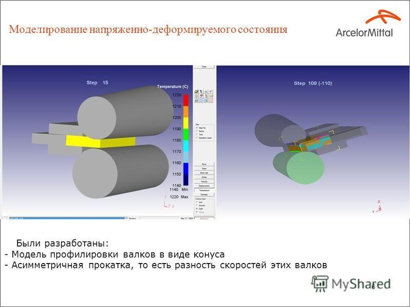 Моделирование напряженно-деформируемого состояния 6 Были разработаны: - Модель профилировки валков в виде конуса - Асимметричная прокатка, то есть разность скоростей этих валков