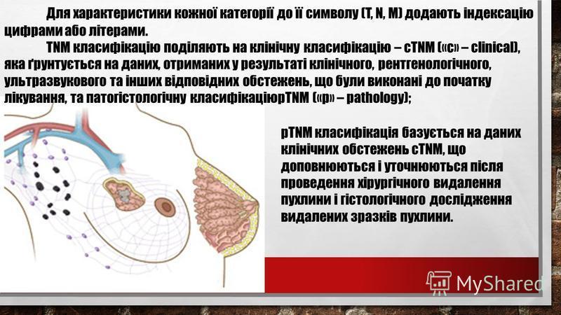 Для характеристики кожної категорії до її символу (T, N, M) додають індексацію цифрами або літерами. TNM класифікацію поділяють на клінічну класифікацію – сTNM («c» – clinical), яка ґрунтується на даних, отриманих у результаті клінічного, рентгенолог
