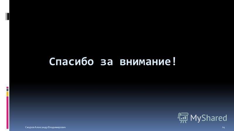 Спасибо за внимание! Смуров Александр Владимирович 14