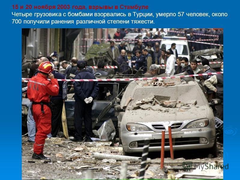 15 и 20 ноября 2003 года, взрывы в Стамбуле Четыре грузовика с бомбами взорвались в Турции, умерло 57 человек, около 700 получили ранения различной степени тяжести.