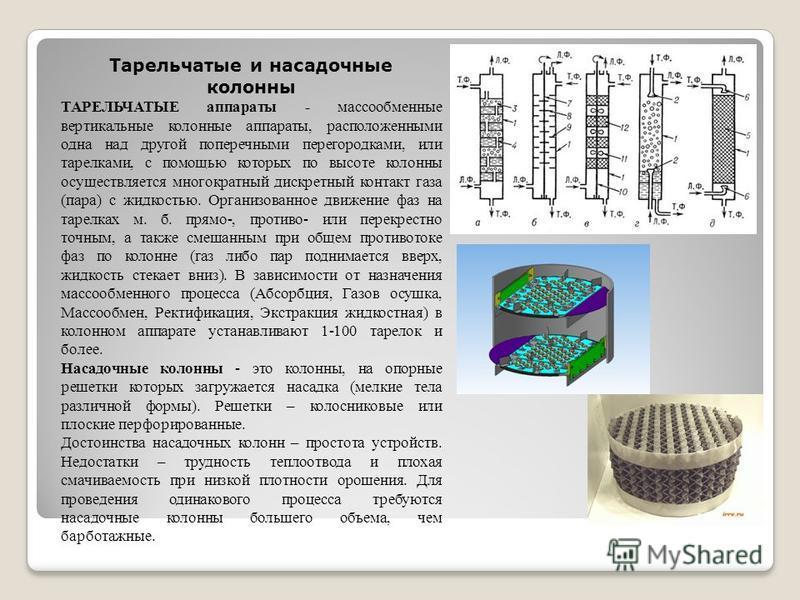 Тарельчатые и насадочные колонны ТАРЕЛЬЧАТЫЕ аппараты - массообменные вертикальные колонные аппараты, расположенными одна над другой поперечными перегородками, или тарелками, с помощью которых по высоте колонны осуществляется многократный дискретный