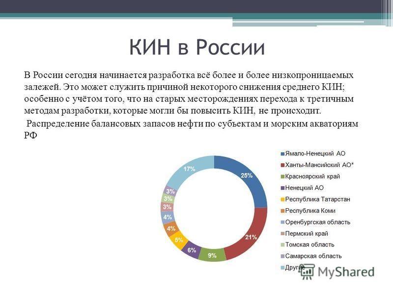 КИН в России В России сегодня начинается разработка всё более и более низкопроницаемых залежей. Это может служить причиной некоторого снижения среднего КИН; особенно с учётом того, что на старых месторождениях перехода к третичным методам разработки,
