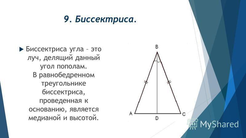9. Биссектриса. Биссектриса угла – это луч, делящий данный угол пополам. В равнобедренном треугольнике биссектриса, проведенная к основанию, является медианой и высотой.