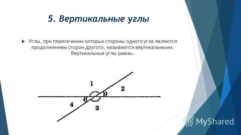 5. Вертикальные углы Углы, при пересечении которых стороны одного угла являются продолжением сторон другого, называются вертикальными. Вертикальные углы равны.