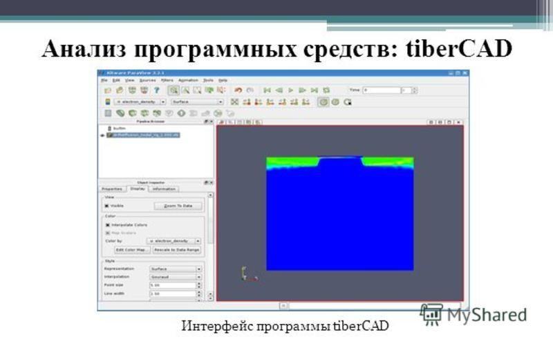 Анализ программных средств: tiberCAD Интерфейс программы tiberCAD