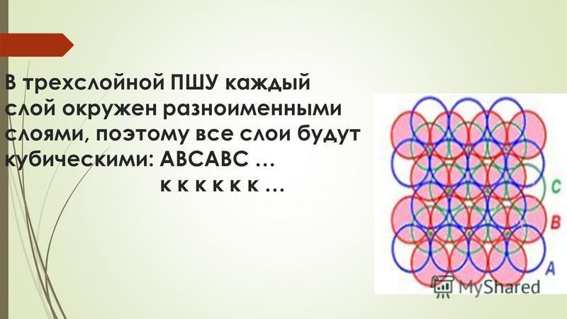 В трехслойной ПШУ каждый слой окружен разноименными слоями, поэтому все слои будут кубическими: АВСАВС … к к к к к к …