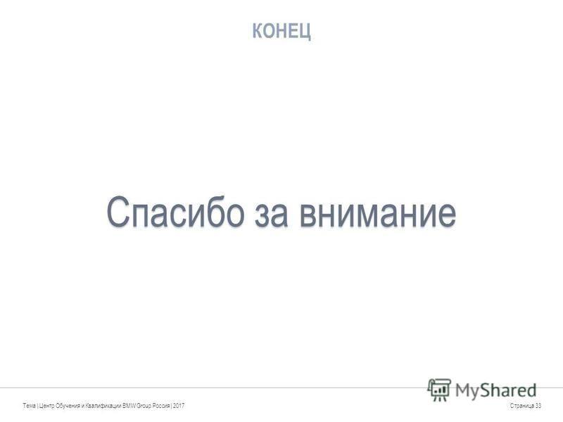 КОНЕЦ Тема | Центр Обучения и Квалификации BMW Group Россия | 2017Страница 33 Спасибо за внимание