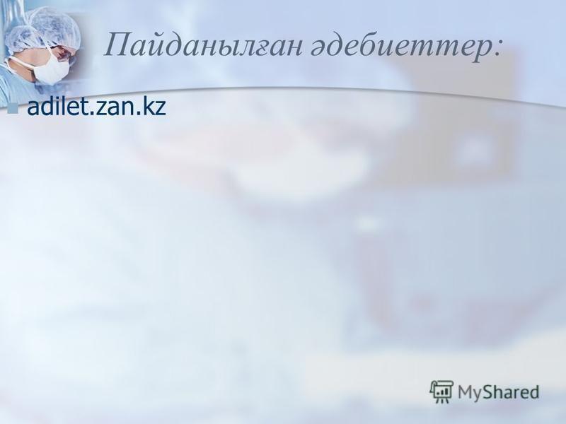 Пайданылған әдебиеттер: adilet.zan.kz